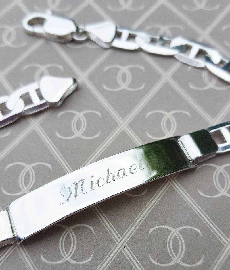 """Men's Sterling Silver Flat Anchor ID Bracelet 8"""""""