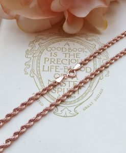 "9ct Rose Gold 3.2mm Diamond Cut Rope Chain Necklace 18"" 20"" 24"""
