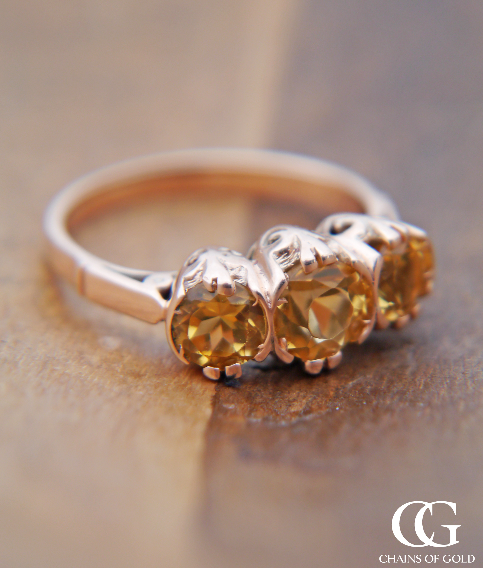 Victorian Inspired Ring with 3 Yellow Topaz Stones in 9ct ...