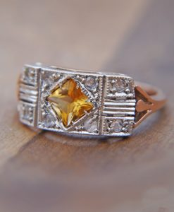 Art deco ring in rose gold with diamonds and citrine