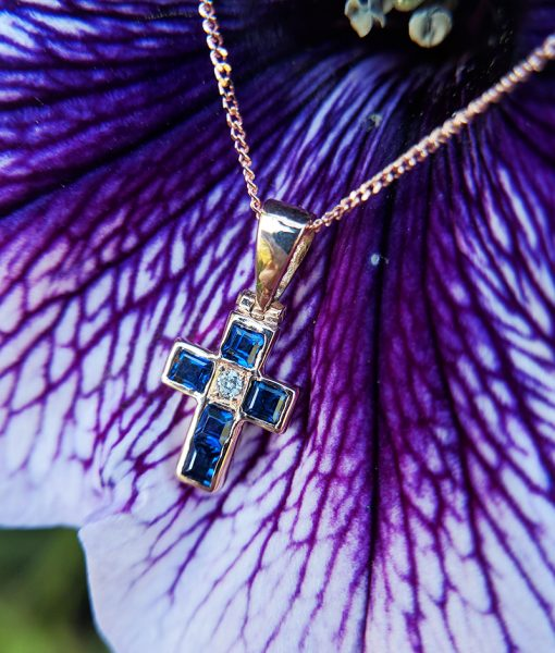 Dainty Amp Delicate 9ct Rose Gold Sapphire Amp Diamond Cross