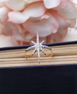 9ct Yellow Gold & Cubic Zirconia Sparkling Star Ring