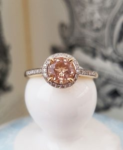 Morganite and diamond halo ring in a 9ct yellow gold setting