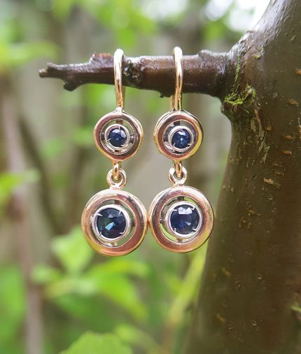 Deco Inspired 9ct Rose Gold & Blue Sapphire Target Drop Earrings