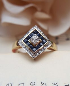 Art Deco Inspired 9ct Yellow Gold, Diamond & Sapphire Ring