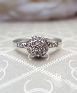 9ct White Gold Diamond Cluster & Shoulder Ring