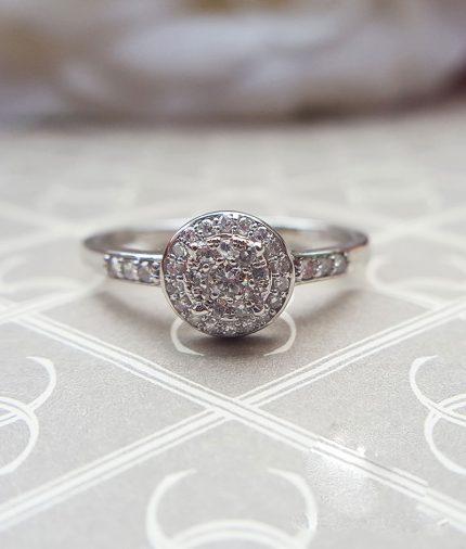 9ct White Gold Diamond Cluster & Shoulder Ring