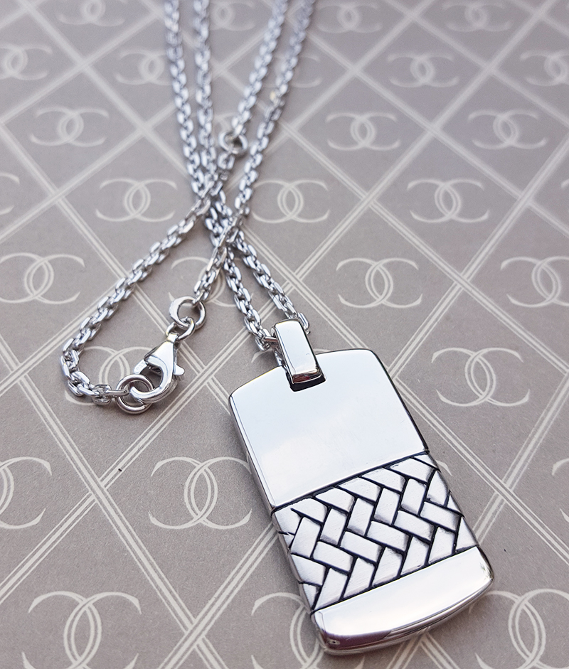 Men S Sterling Silver Herringbone Dog Tag Necklace 20 Quot 22 Quot