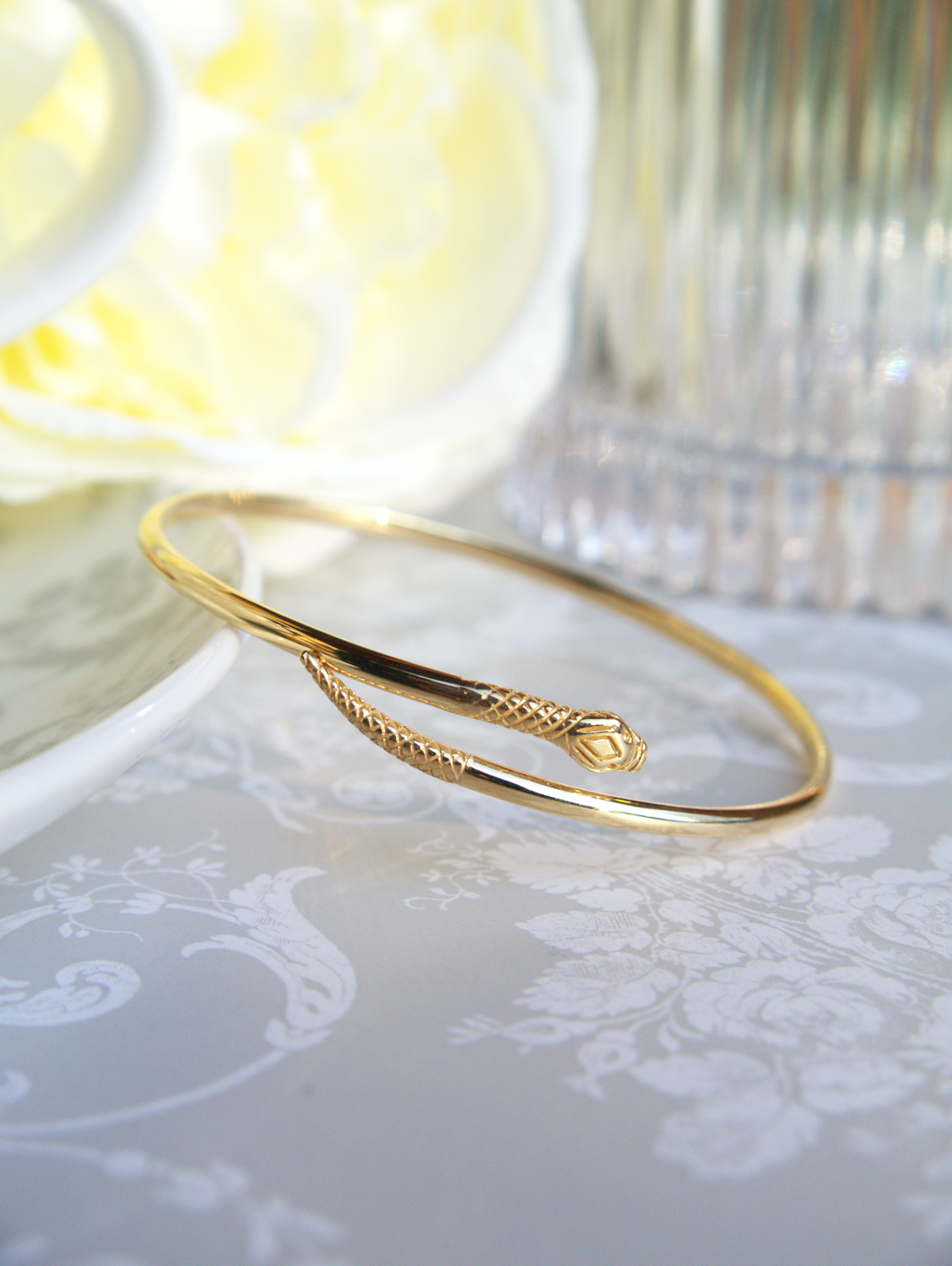 Ladies Womens 9ct Yellow Gold Snake Serpent Bangle