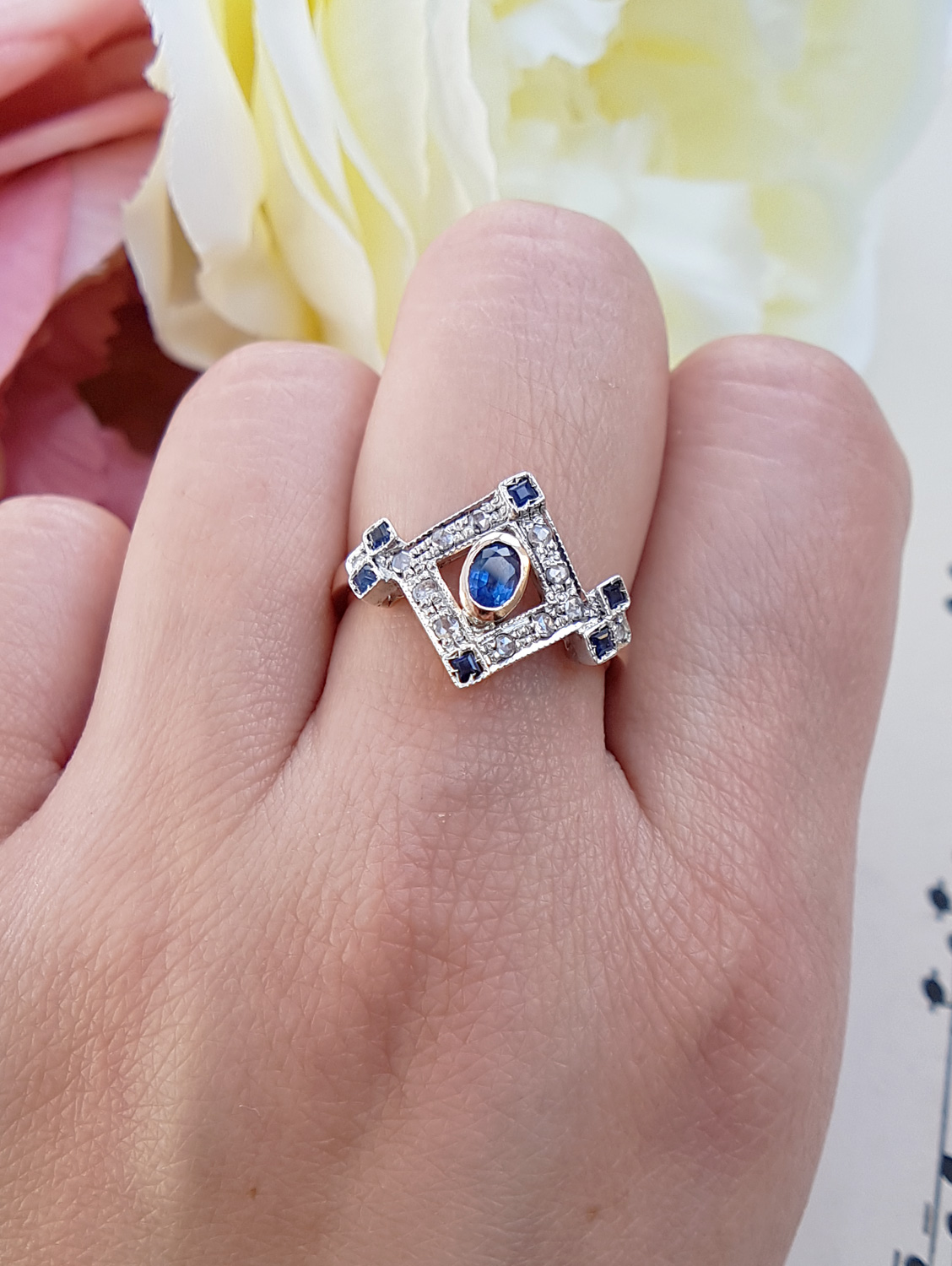 Antique Art Deco 9ct Rose Gold Ring with Diamonds and Sapphires