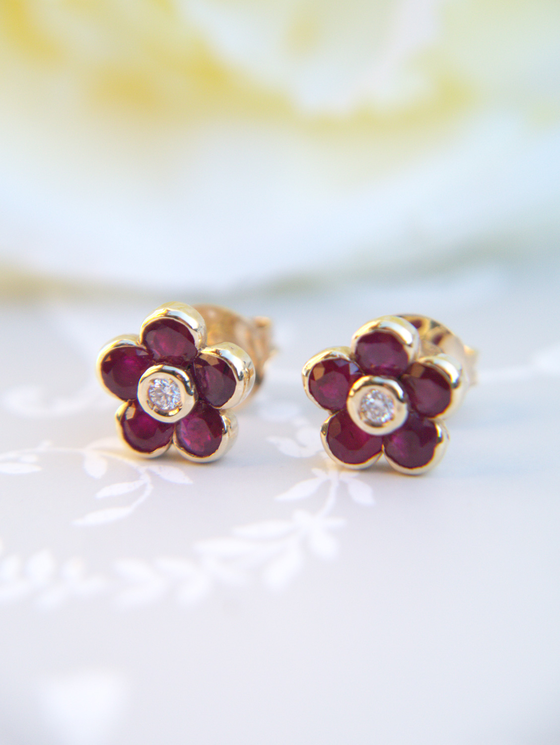 2374cf3f729 Vintage Inspired 14ct Yellow Gold Diamond   Ruby Flower Stud Earrings
