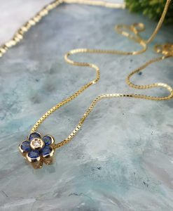 14ct Yellow Gold Flower Slider Necklace with Sapphire & Diamond