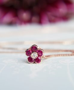 14ct Yellow Gold Flower Slider Necklace with Ruby & Diamond