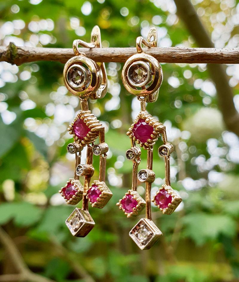 Art Deco Inspired 14ct Yellow Gold Ruby Diamond Drop Earrings
