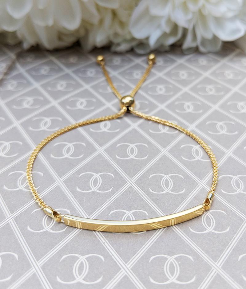 Fine 9ct Yellow Gold Adjustable Bar Bracelet For Stack
