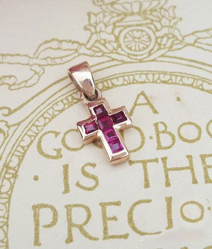 Delicate 9ct Rose Gold Ruby Vintage Inspired Cross Necklace