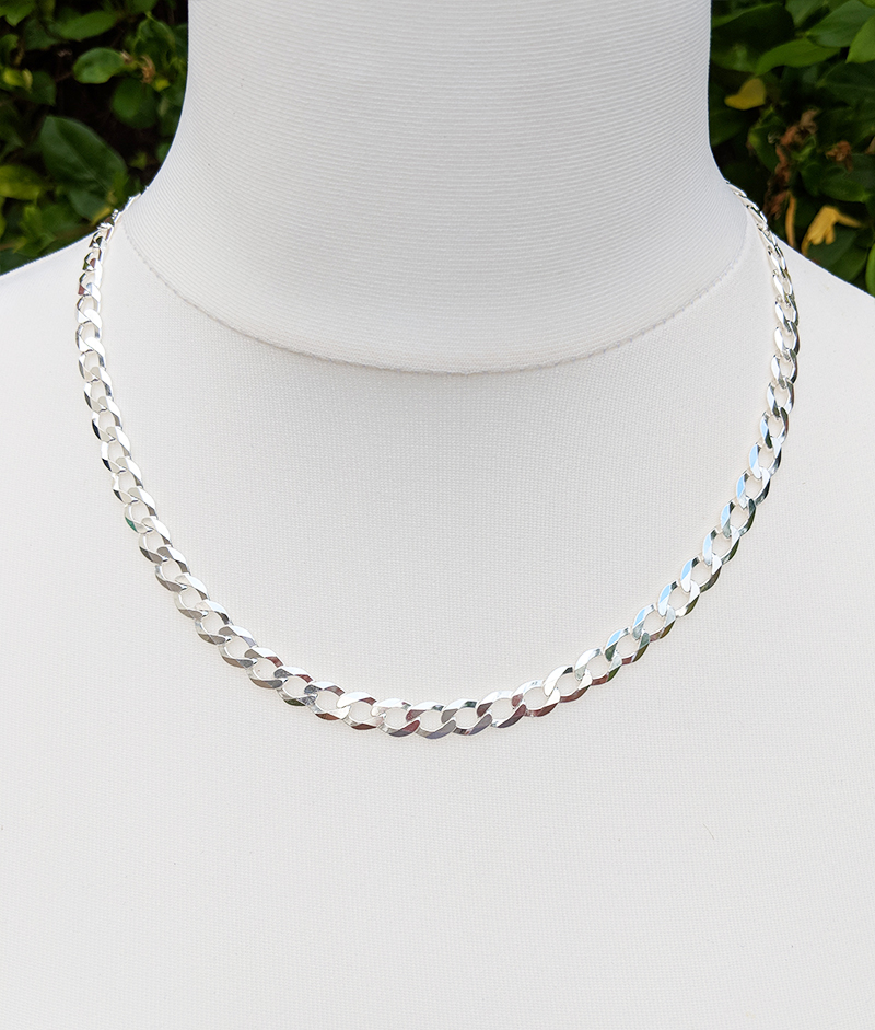 Men s Sterling Silver 7.5mm Curb Chain Necklace 20″ 22″ 24″ 16289b3838df