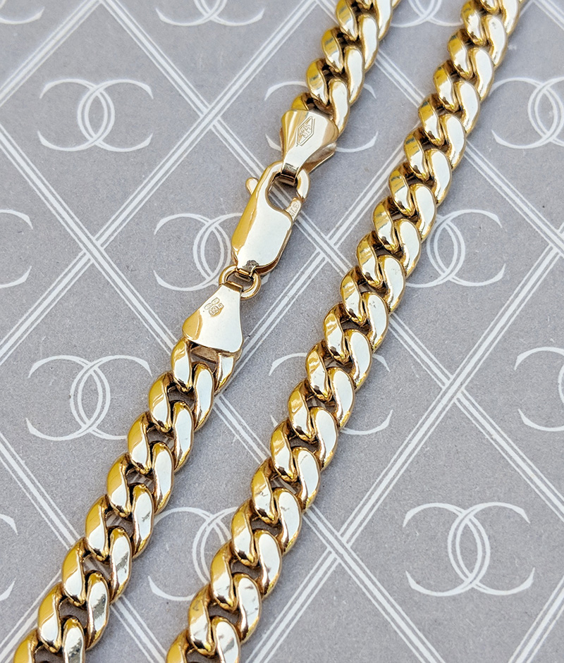 9ct Yellow Gold 5mm Close Cuban Curb Chain Men S Ladies