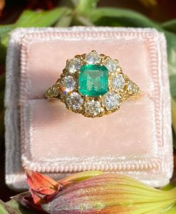 18ct gold emerald and diamond statement engagement ring