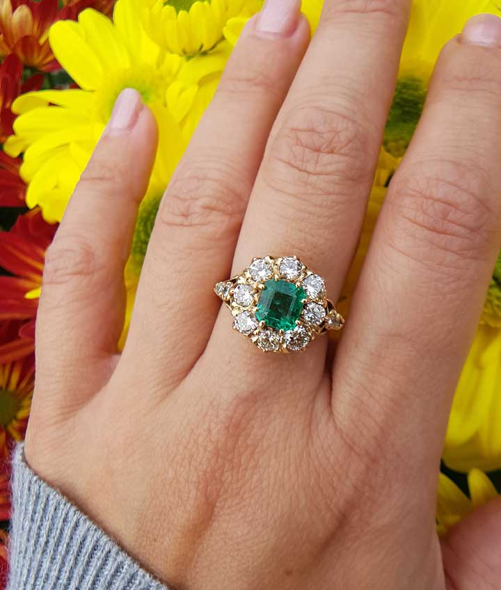 c253759f2 Antique Engagement 18ct Gold Ring with Emeralds & Diamonds 2.23cts