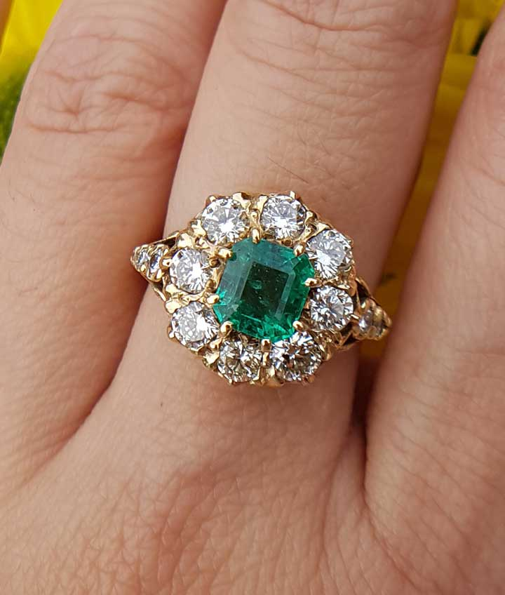 Antique Engagement 18ct Gold Ring With Emeralds Amp Diamonds