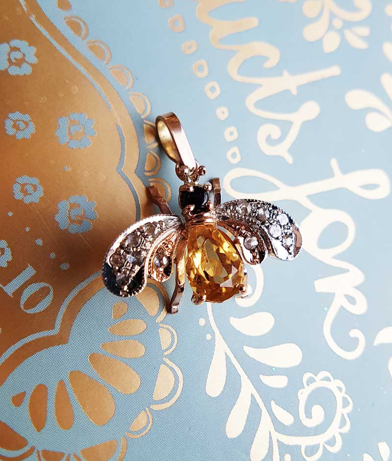 Vintage Inspired 9ct Rose Gold Bee Pendant Chain Necklace