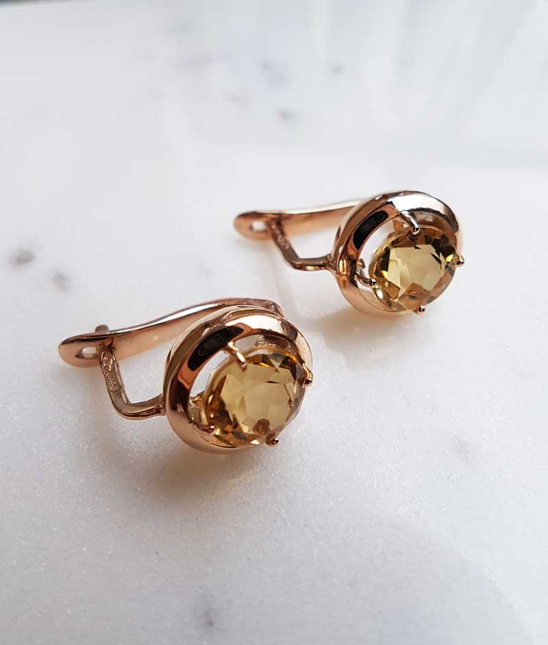 50f9d5e18 Details about Vintage Style 9ct Rose Gold & Citrine Round Drop Earrings