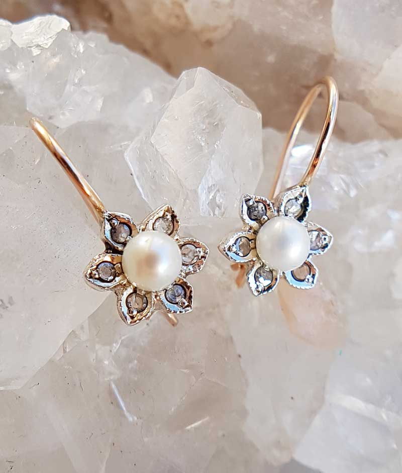 a13a9beae Details about Pearl & Diamonds Flower Drop Earrings in 9ct Rose Gold.  Vintage Inspired Earring