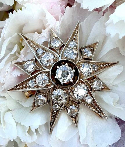 Late Victorian star brooch pendant with 2.50cts old cut diamonds