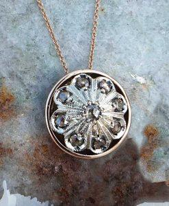 Edwardian Inspired 9ct Rose Gold & Diamond flower medallion necklace