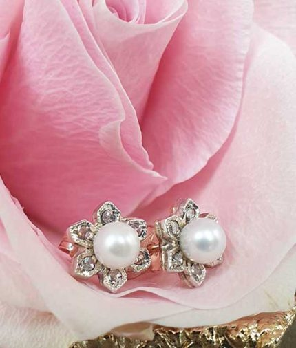 Pearl & Diamonds Delicate Flower Drop Earrings in 9ct Rose Gold. Vintage Style Inspired.