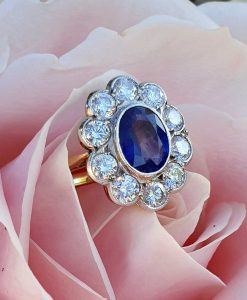 Antique Sapphire & Diamond Cluster Engagement Ring