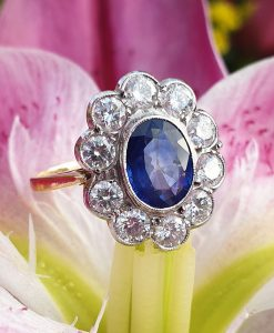 Antique Sapphire & Diamond Cluster Engagement Ring