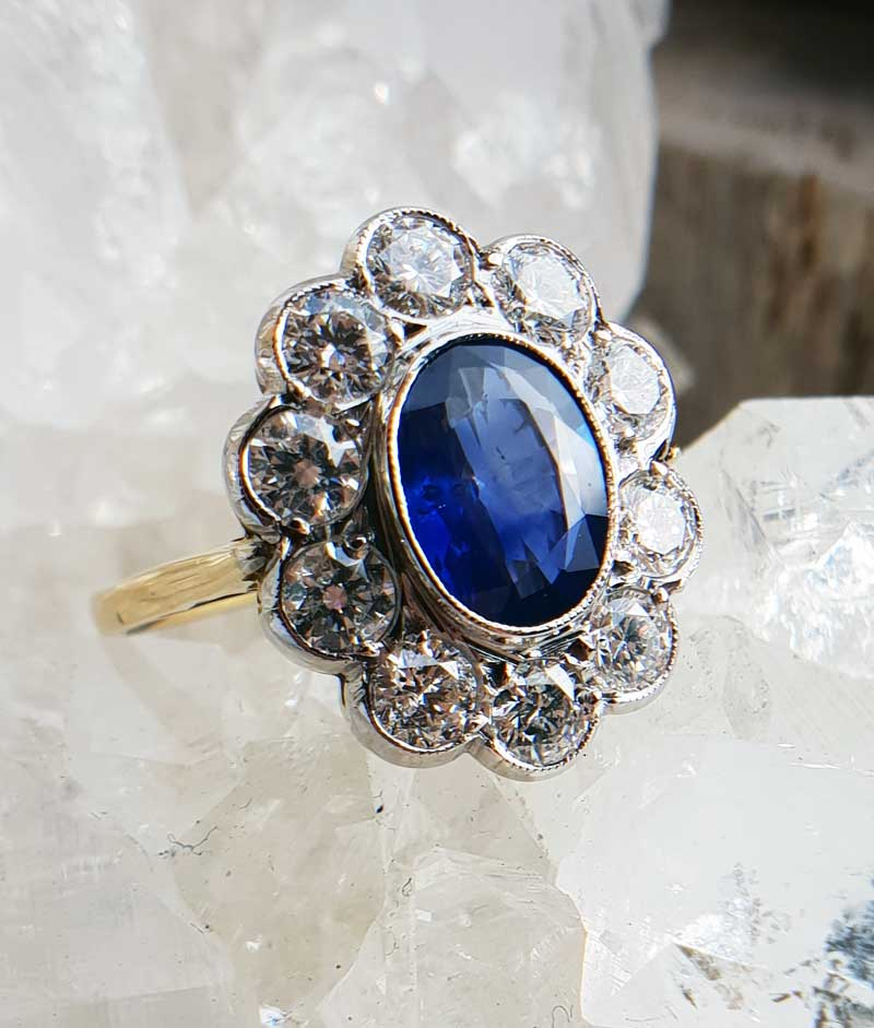 9ct Yellow Gold /& Silver Blue Sapphire Princess Diana Cluster Ring size R
