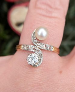 Antique French 18ct Yellow Gold, Diamond & Pearl Toi Et Moi Ring 0.35cts