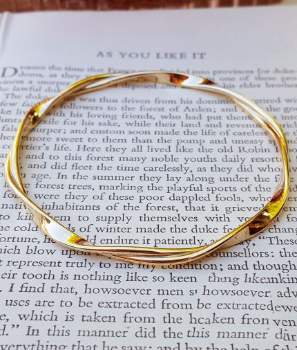 Solid Hand-Made 9ct Yellow Gold Flat Twist Bangle