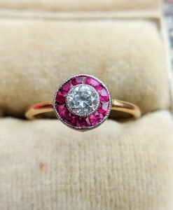 Antique Art Deco Yellow Gold Diamond & Ruby Target Ring