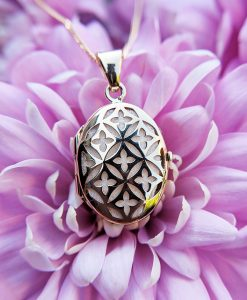 9ct Yellow Gold Openwork Oval Locket Necklace
