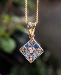 Art Deco Inspired 14ct Yellow Diamond & Sapphire Pendant Necklace