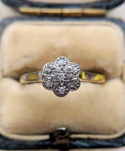 Edwardian 18ct Yellow Gold, Platinum & Diamond Flower Ring 1908