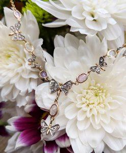Antique Style 14ct Yellow Gold Sapphire & Diamond Lavalier Necklace