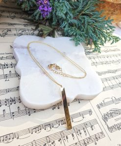 Veritical bar necklace in solid gold personalise and engrave