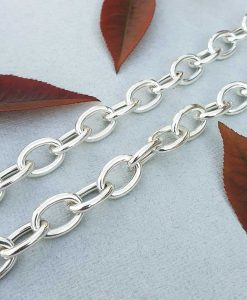 Solid Sterling Silver Oval Belcher Chain Necklace