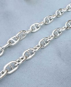 Unisex 10mm Sterling Silver Round Anchor Chain Necklace