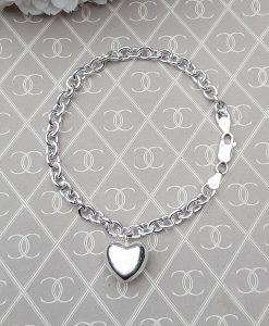 """Sterling Silver Bracelet with Puffed Heart Charm 7.5"""""""