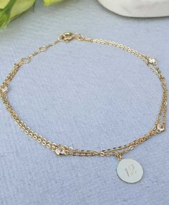 Personalised Ladies 9ct Yellow Gold Disc Charm Bracelet 7.5''