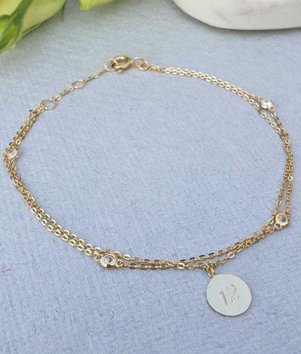 Personalised Ladies 9ct Yellow Gold Disc Charm Bracelet 7.5''