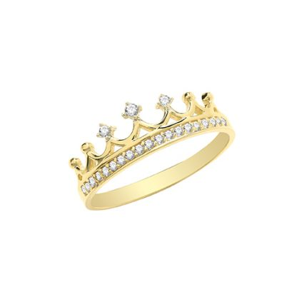 Solid 9ct yellow gold crown ring with cubic zirconia