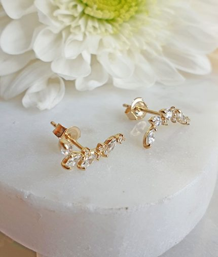 9ct yellow gold climber stud earrings with cubic zirconia