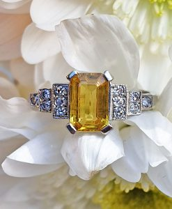 Antique Yellow Sapphire and Diamonds with Platinum Ring